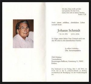 Schmidt Johann 1931-2016